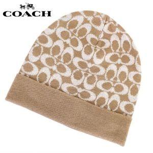Coach camel beanie
